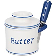 The Original Butter Bell Crock and Spreader by L. Tremain, Parisian Polka Dot Collection - Blue/White
