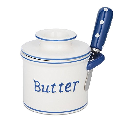 The Original Butter Bell Crock and Spreader by L. Tremain, Parisian Polka Dot Collection - Blue/White by Butter Bell