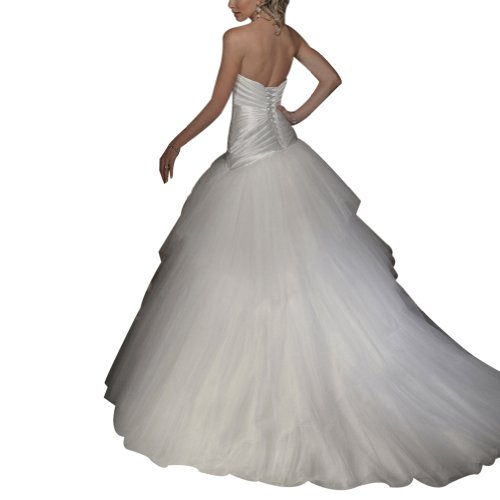 GEORGE Satin elegante Hochzeitskleider Brautkleider Elfenbein mit BRIDE Einfache ueber Netto bowknot BrErXq0
