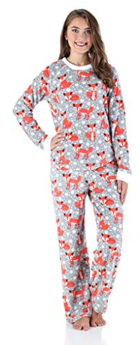 PajamaMania Women's Sleepwear Fleece Long Sleeve Pajamas PJ Set Foxes (PMPFR1142-1065-XL)