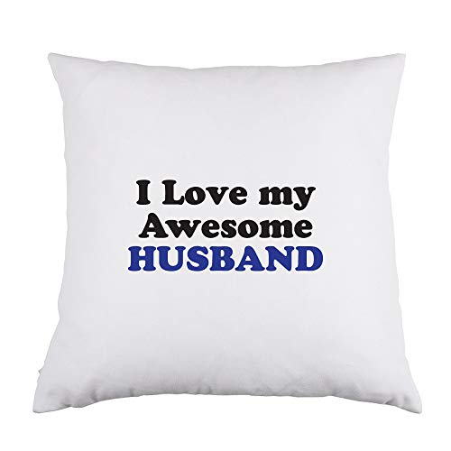Price comparison product image Abby Smith I Love My Awesome Husband White Throw Pillow,  16 inch Square with Insert Included