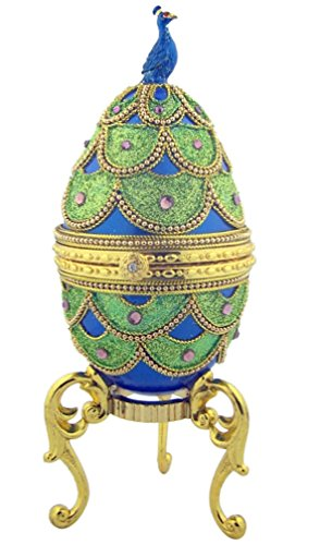 - Pretty as a Peacock Blue Enameled Genuine Goose Egg Musical Jewelry Box