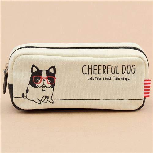 Lindo estuche para lápices crema gracioso perro gafas rojas de ...