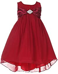 iGirlDress Little Girls' Hi-Low Chiffon Flower Girls Dresses burg size 4