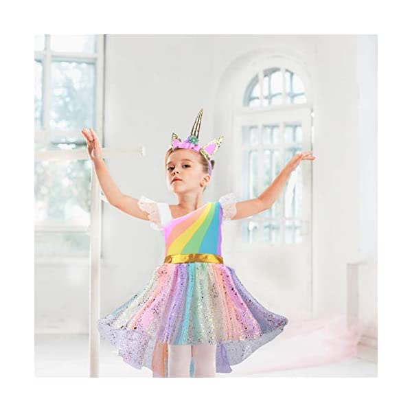 Girls Unicorn Costume Set Princess Rainbow Dress up for Party Supplies Outfits 6