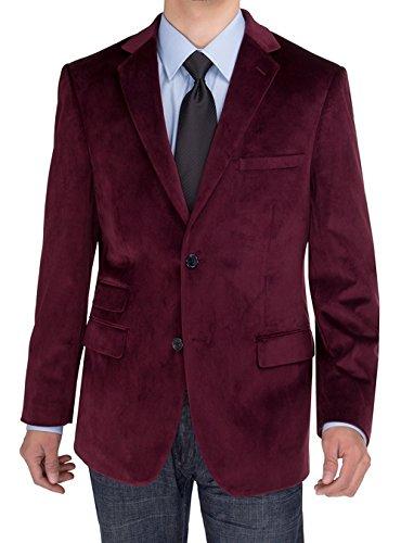 SE SALVATORE EXTE Men's 2 Button Velvet Blazer, Burgundy, 44 Short US/54S EU -