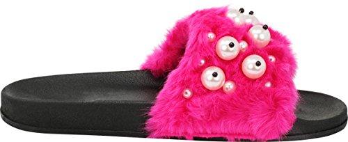 Faux Cape Flop Flat Women Sandal Fur Fuchsia Black Shoe Flip Robbin Pearl On Slide Slip 12 Moira Slipper rXxrY7