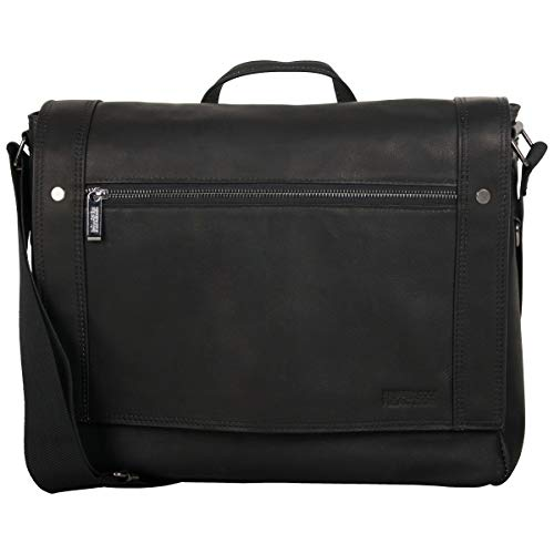Kenneth Cole Reaction Mess Essentials Full-Grain Colombian Leather Slim Flapover Business Laptop Messenger Bag, Black