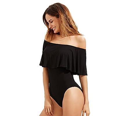 Verdusa Women's Off The Shoulder Short Sleeve Ruffle Bodysuit: Clothing