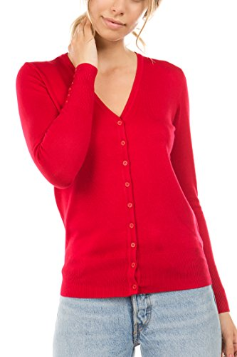 CIELO Women's Regular Solid Cardigan with Decorative Buttons Red (Ruby Petite Sweater)