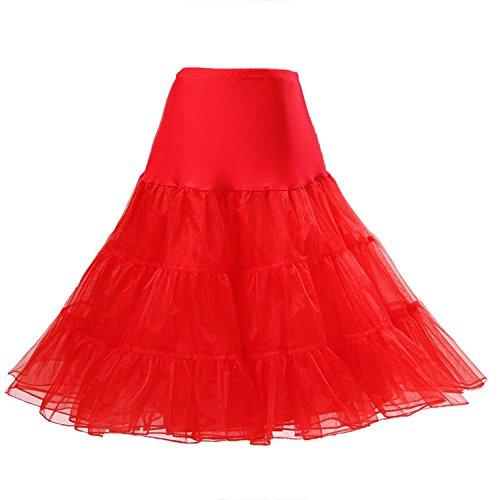 Retro Pacchi 1950's Nero Boolavard White Red Black Vintage Underskirt 50's Rockabilly 2 Rosso Petticoat PwxqftB