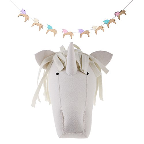 Fenteer Funny Animal Unicorn Hanging Garland and Unicorn Head Wall Mounted Art Wall Home Decoration Gifts by Fenteer