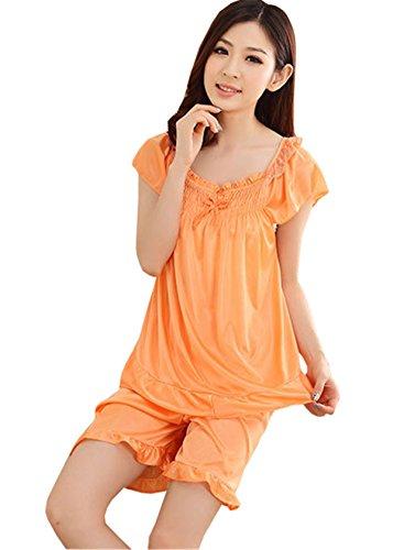Donna Balze Classico notte Pezzi Pigiama Seta di Arancione Comodo Camicie DaBag Manica e Ragazza Estivo Sintetico Due Pigiami Maglie a da Pigiami Pantaloncini Sexy Shorts Maglie Simpatiche Corta TxYFnq0