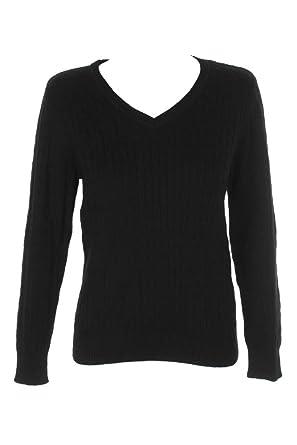 9c52417f59 Karen Scott Cotton V-Neck Cable-Knit Sweat at Amazon Women s Clothing store