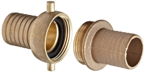 Dixon BS63N Brass Hose Fitting, Complete King Short Suction Coupling Set with Brass Nut, 1-1/2'' NST x 1-1/2'' Hose ID Barbed by Dixon Valve & Coupling