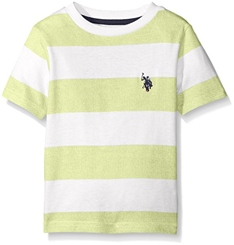 U.S. Polo Assn. Big Boys' Birdseye Printed Stripe Crew Neck T-Shirt, Apple (Stripe T-shirt)