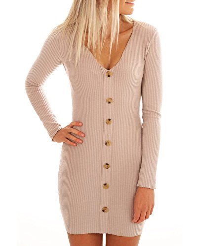 - ZILIN Women's Ribbed Knit Button Down Tight Sweater Dress V-Neck Bodycon Pencil Dress Beige