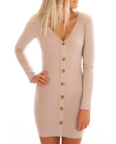 Knit Button Down Tight Sweater Dress V-Neck Bodycon Pencil Dress Beige ()