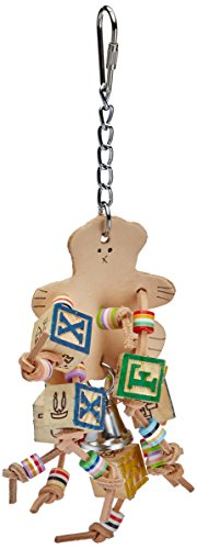 A&E CAGE COMPANY HB698 Happy Beaks Leather Bear with ABC Blocks Assorted Bird Toy, 4.7 by 9.8