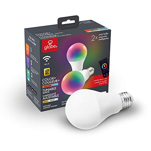 Globe Electric Wi-Fi Smart 10 Watt (60W Equivalent) Multicolor Changing RBG Tunable White Dimmable Frosted LED Light Bulb 2-Pack, No Hub Required, 2000K - 5000K, A19 Shape, E26 Base 34207