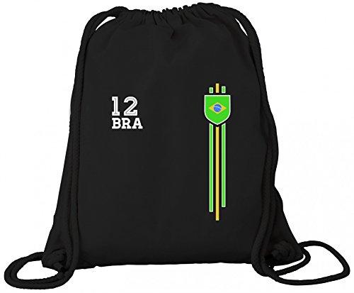 Brasil Soccer World Cup Fussball WM Fanfest Gruppen Premium Bio Baumwoll Turnbeutel Rucksack Stanley Stella Streifen Trikot Brasilien Black cpgpUI