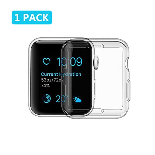 For Apple Watch Screen Protector Case 42mm - RuGbie All Around Protective Case High Definition Clear Ultra-Thin Cover for Apple watch 42 mm Series 3 and Series 2 (1 pack)