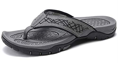 Lxso Men's Flip Flops Athletic Sport Thong Sandals Outdoor Beach Shoes(Lxso-5062Grey41)
