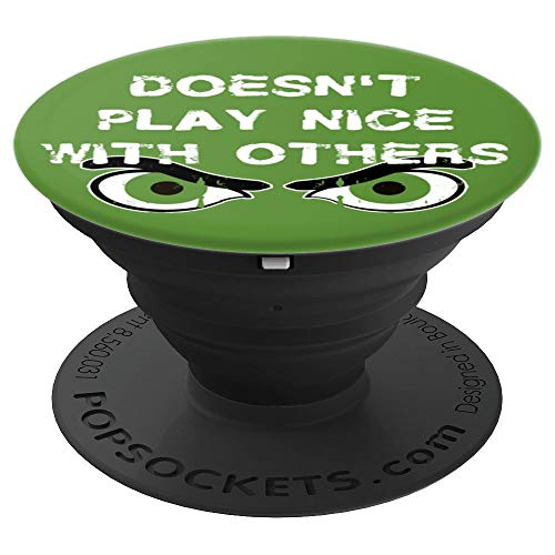 Angry Eyes Doesn't Play Nice Halloween Monster Green - PopSockets Grip and Stand for Phones and Tablets]()