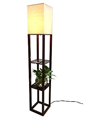 HomeFocus USB LED Shelf Floor Lamp Light,Uplight Standing Floor Lamp Light,Display Shelves Floor Lamp Light,Special MDF Frame,PVC and White Linen Shade,Brown