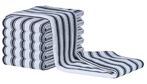 (Glamburg 100% Cotton Kitchen Towels and Dish Cloth Sets, 6 Pack 18x28 Basket Weave Stripe Dish Towels, Tea Towels, Bar Towels, Cleaning Towels, Highly Absorbent Dishcloth, Kitchen Towel Set - Navy)