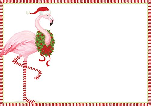 Caspari Christmas Flamingo Blank Invitations With Envelopes (8 Pack), Pink Blank Christmas Holiday Invitations
