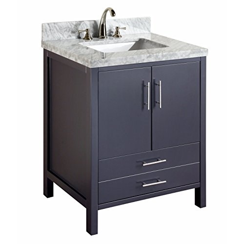 KBC Kitchen Bath Collection KBC030GYCARR California Bathroom Vanity with Marble Countertop, Cabinet with Soft Close Function and Undermount Ceramic Sink, Carrara/Charcoal Gray, 30""