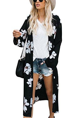 Yonala Womens Summer Floral Print Chiffon Beachwear Top Cover Up Kimono Cardigan
