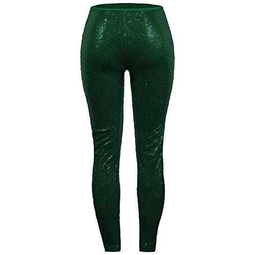 Atractivo Condimentan Leggings Más Pantalones rovinci Las Que Brillante Promoción Clubwear Verde La ¡gran De Mujer Delgados pantalones Mujeres Para Lentejuela Tamaño TavHwq