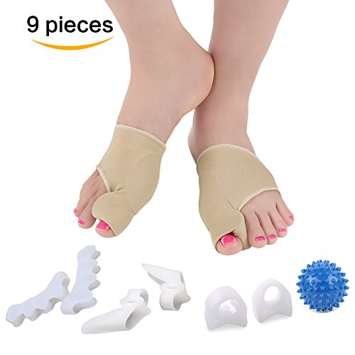 Bunion Corrector, Orthopedic Bunion Relief Cushions Brace Treatment,Toe Socks, Toe Spacers, Toe Pads, Toe Rings, Toe Protector and Foot Massager, Totally 9 Pieces by Tediver