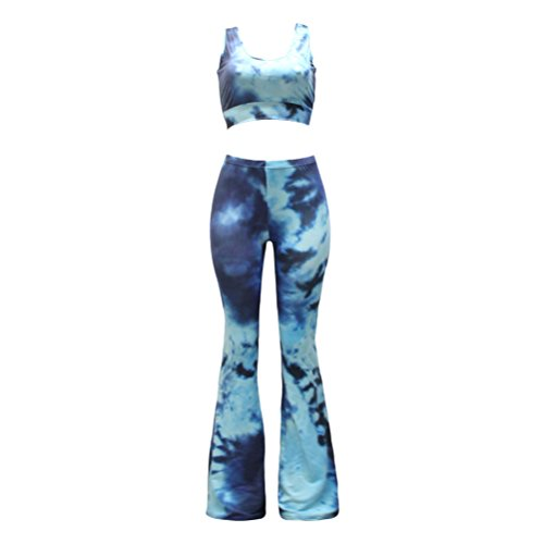 Zhhlinyuan High Quality Dyed Bandage Boot Cut Pants with Wrapped Chest Suit Personalized Ropa para mujer Laides Blue&Dark blue