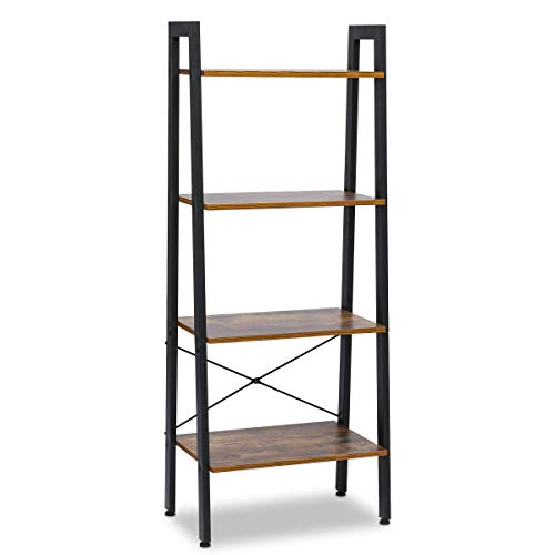 KINGSO Industrial Ladder Shelf 4-Tier Bookshelf Vintage Rustic Storage Rack Shelves with Wood Look and Metal Frame Furniture for Living Room Study Lounge Bedroom Office (Vintage Storage Wood)