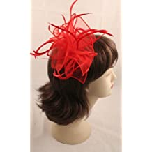 STUNNING RED FABRIC AND SPLIT FEATHER HAIR FASCINATOR ON COMB by Inca