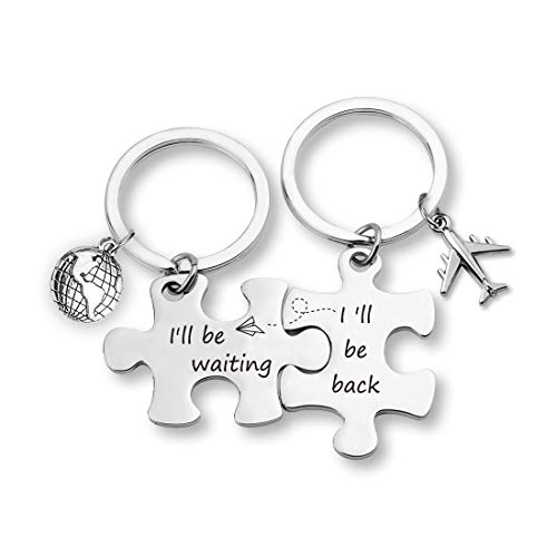 TOGON Puzzle Keychain Set Long Distance Relationships Gifts I'll Be Back I'll Be Waiting Anniversary Valentine Gift for Couples (I'll be Waiting Set KR)