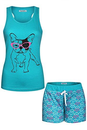 2LUV Women's Printed Cotton Race Back Tank Top Short Pants Pajama Set Aqua XL