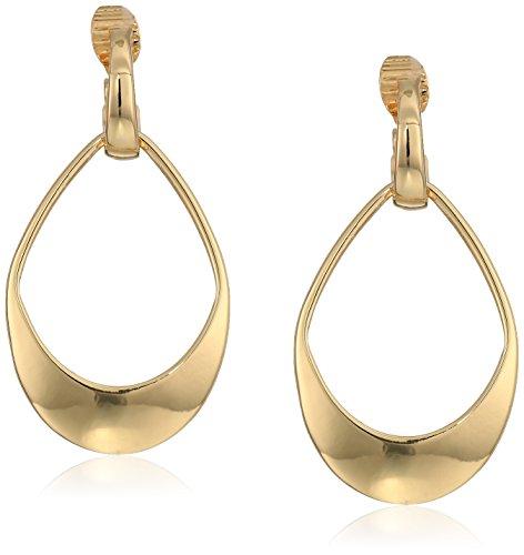 Gold Earrings Tone Klein Anne (Anne Klein Gold Tone Drop Clip Earrings)