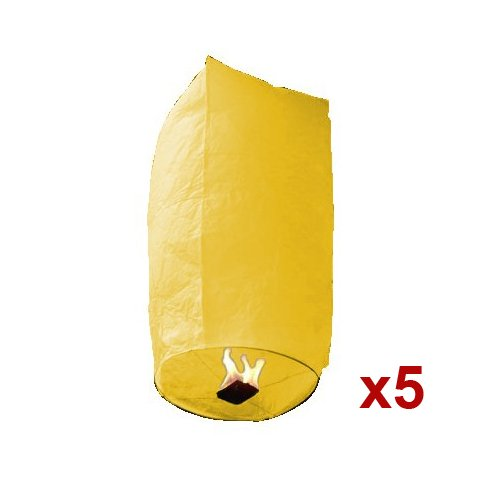 5pc Yellow Cylinder Sky Fire Chinese Lanterns Flying Paper Wish Balloon For Wedding Christmas Party, Outdoor Stuffs