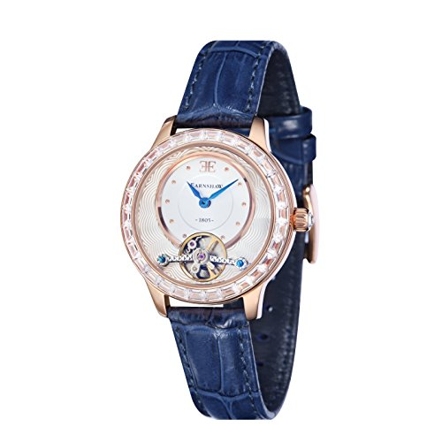 Thomas Earnshaw Women's 'LADY AUSTRALIS' Mechanical Hand Wind Stainless Steel and Leather Dress Watch, Color:Blue (Model: ES-8057-01)