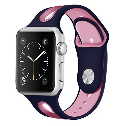 KWLET Silicone Bands Compatible with 38mm Apple Watch Bands Small Silicone Sport Bands Unique Pretty Replacement Band for Apple Watch Band 40mm Series 4 3 2 1 Edition Nike+ S/M