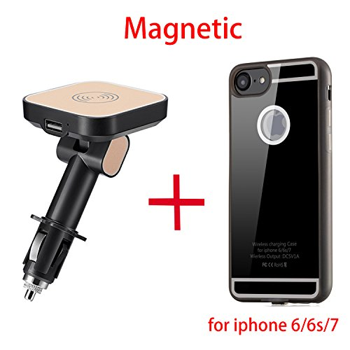 Magnetic Qi Wireless Car Charger Mount Adapter + Charging Receiver Case for iphone 6 / 6s / 7 + USB Quick Charging Port, Wireless Car Charging Pad Cigarette Charger Aluminum Alloy Magnet Power Socket Mount Vehicle Holder Cradle