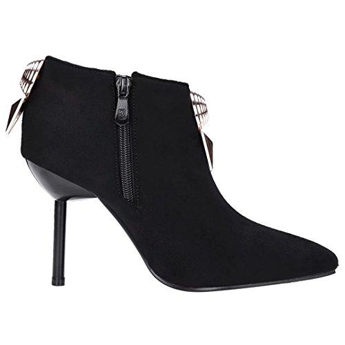 AIYOUMEI Damen Spitz Zehen Stiletto Stiefeletten mit Reißverschluss und Metalldekoration Herbst Kurzschaft Stiefel i5P6p