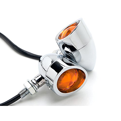 Krator Motorcycle 2 pcs Chrome Amber Turn Signals Lights For Yamaha V-Max Vmax V Max VMX 1200