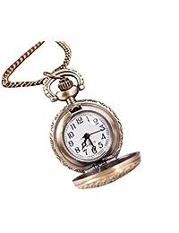 SUPPION Women's Vintage Retro Bronze Quartz Pocket Watch, Sunflowers Floral Watches Pendant Chain Necklace