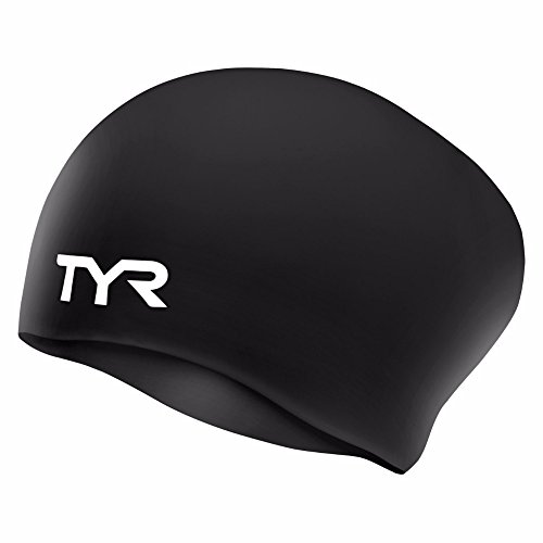 TYR Long Hair Wrinkle-Free Silicone Swim Cap, Black