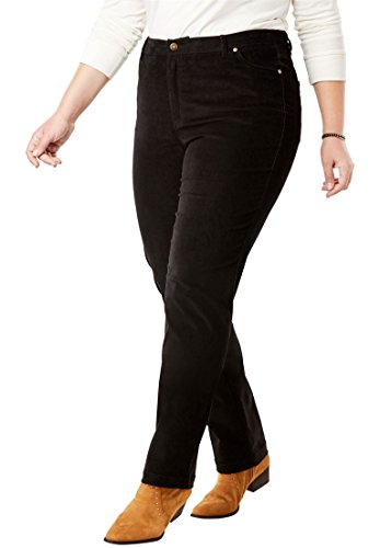 Wale Corduroy Pants 14 (Woman Within Plus Size Petite Corduroy Straight Leg Stretch Pant - Black, 14 WP)